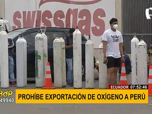 Ecuador prohíbe la exportación de oxígeno medicinal a Perú