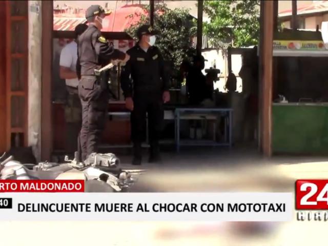 Delincuente muere tras accidentarse durante persecución en Puerto Maldonado