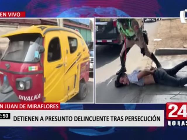 Capturan a presunto ladrón tras persecución en San Juan de Miraflores