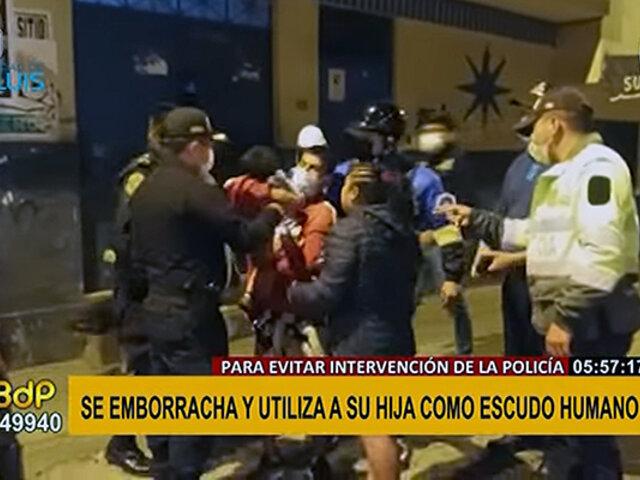 San Luis: sujeto ebrio usa a su pequeña hija como escudo humano para evitar detención policial