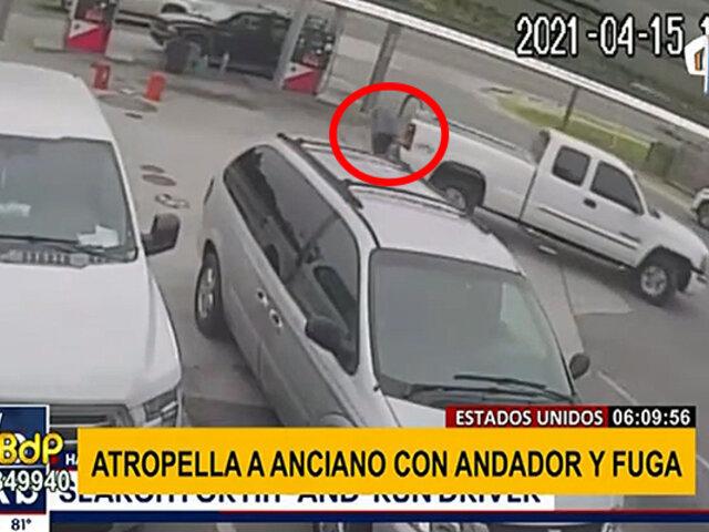 EEUU: anciano en andador casi es arrollado por camioneta en gasolinera