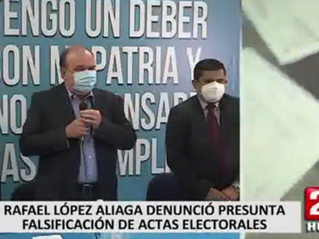 Rafael López Aliaga denunció presunta falsificación de actas electorales