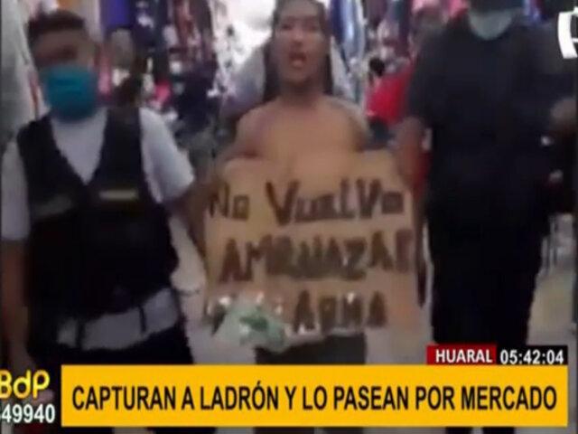 Huaral: capturan a ladrón y lo pasean por mercado por amenazar con cuchillo