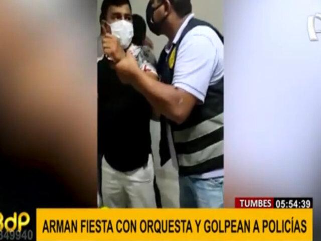 Arman fiesta con orquesta y golpean a policías para no ser intervenidos