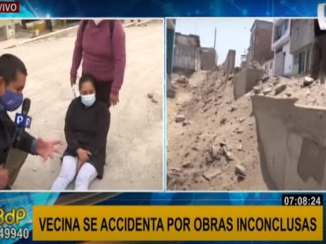 Peligro en VES: joven se lesiona tobillo por obras inconclusas