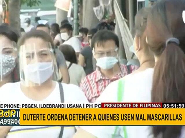 Gobierno de Filipinas ordenó detener a quienes usen de manera incorrecta las mascarillas