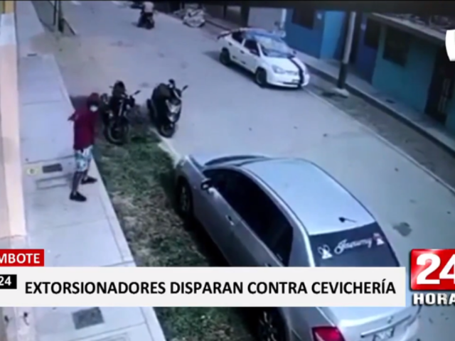 Chimbote: captan a extorsionadores disparando contra local
