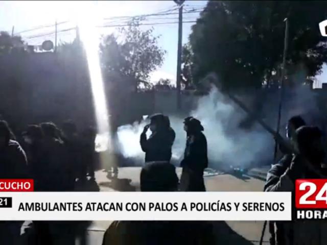 Ayacucho: ambulantes y serenos se enfrentan en distrito de San Juan Bautista
