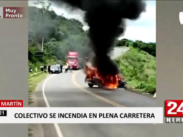 San Martín: colectivo se incendió en carretera Fernando Belaunde