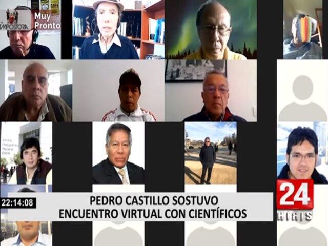 Pedro Castillo se reunió de manera virtual con científicos a cargo de Modesto Montoya