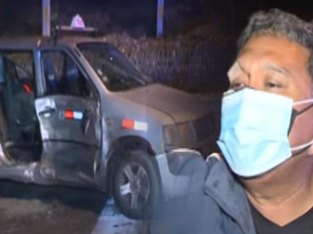 Dos heridos deja choque de taxi y minivan en Miraflores