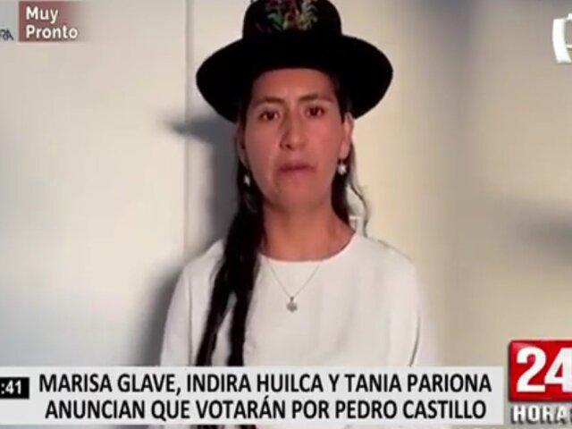 Marisa Glave, Indira Huilca y Tania Pariona anuncian apoyo a Pedro Castillo