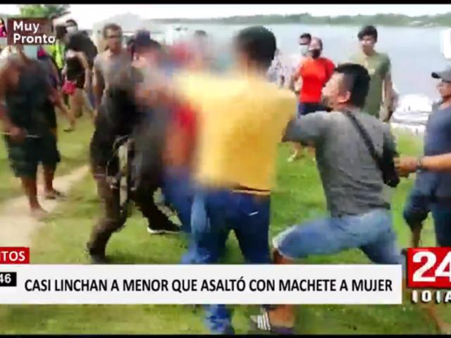Iquitos: casi linchan a delincuente que dejó grave a mujer con machete