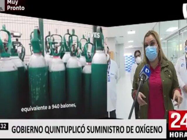Gobierno anunció que se quintuplicó la dotación de oxígeno medicinal