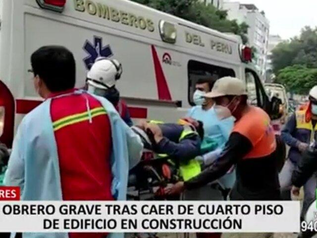 Miraflores: obrero permanece grave tras caer desde cuarto piso de un edificio