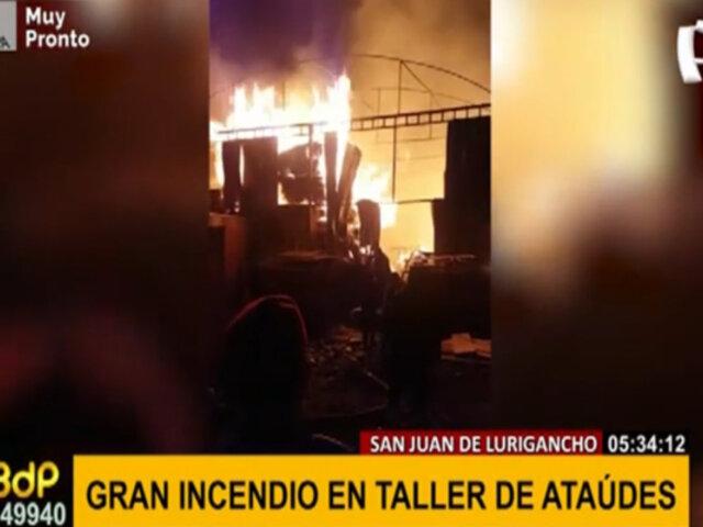 Incendio de gran magnitud en SJL: taller de ataúdes destruido por presunto corto circuito