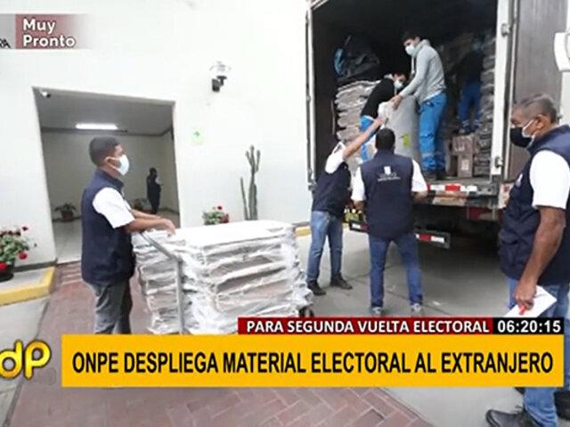 Segunda vuelta: ONPE despliega material electoral al extranjero