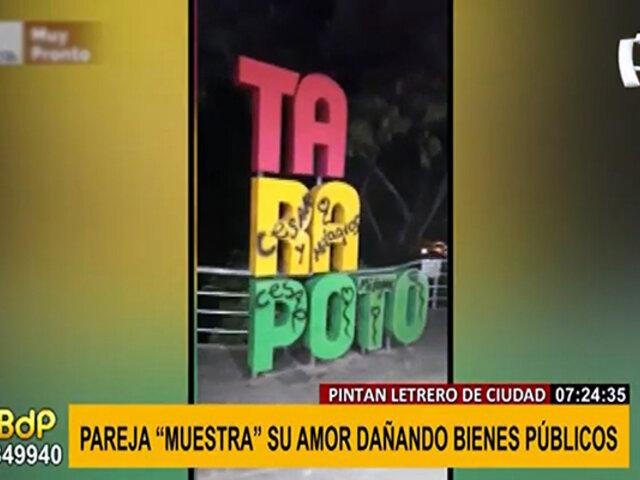 Tarapoto: pareja retrata su amor con grafitis sobre un letrero ornamental de la ciudad