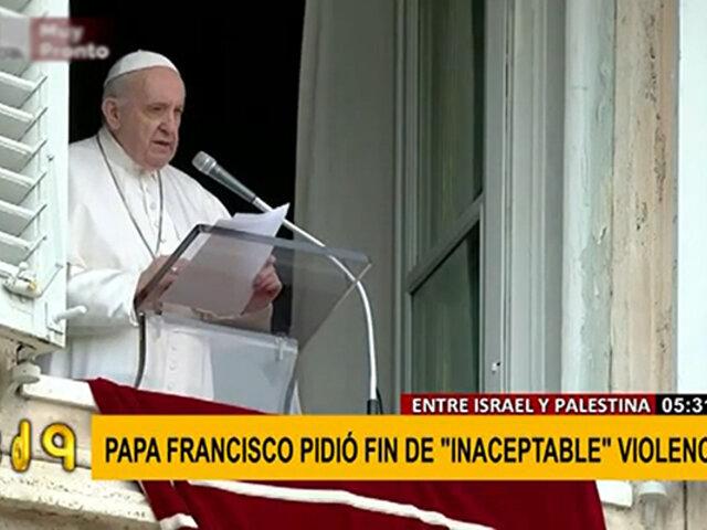 """Papa Francisco pidió paz a Israel y Palestina y calificó de """"inaceptable"""" la muerte de inocentes"""