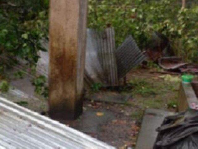Más de 20 viviendas sufrieron serios daños tras fuertes vientos y lluvias en Madre de Dios