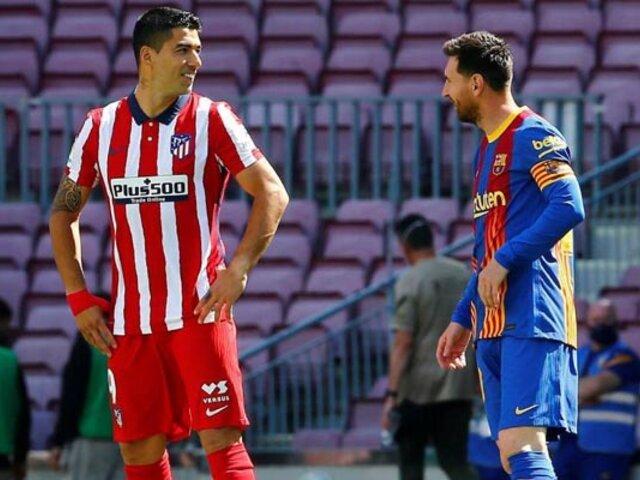 Fútbol español: Luis Suárez le recomienda a Lionel Messi que continúe en el club Barcelona
