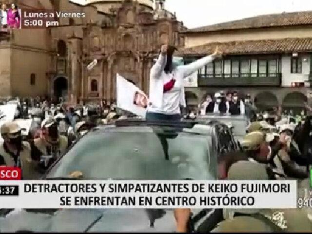 Cusco: detractores lanzan objetos a Keiko Fujimori durante recorrido por la ciudad imperial