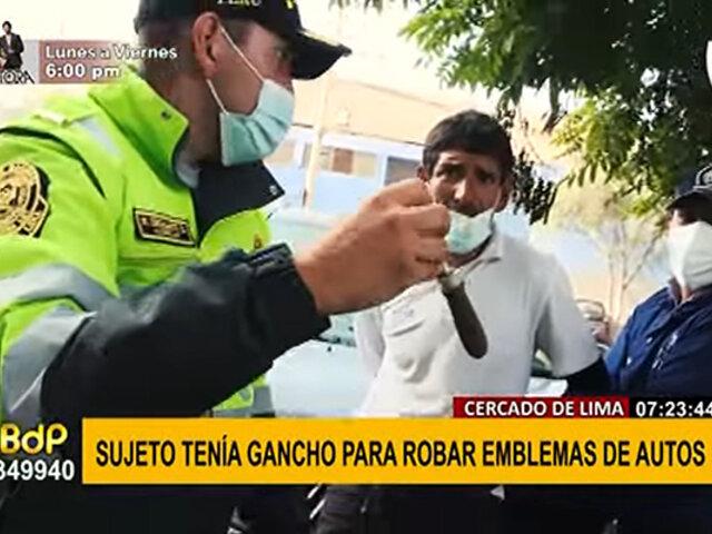 Cercado: detienen a sospechoso y le encuentran gancho que se usaría para robar autopartes