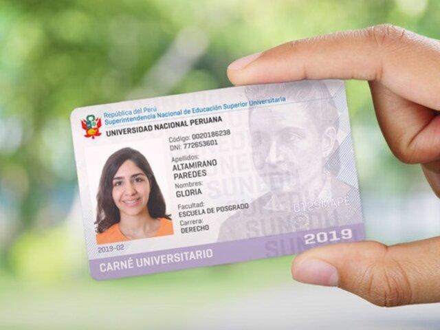 Sunedu amplía vigencia de carné universitario durante todo el mes de junio