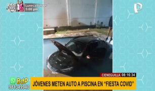 Fiesta covid en Cieneguilla: jóvenes celebran metiendo auto a piscina