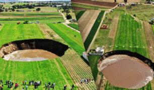 Enorme socavón aparece en el centro de México debido a una falla geológica