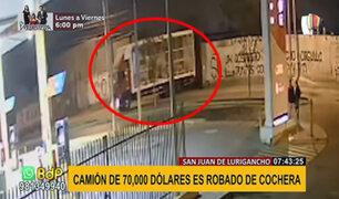 SJL: camión valorizado en 70,000 dólares fue robado de cochera