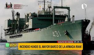 Irán: barco más grande de la armada se hundió tras incendio