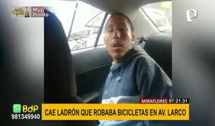 Miraflores: capturan a ladrón que robó bicicleta de policía de tránsito