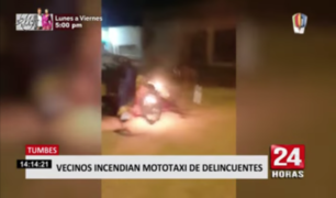 Tumbes: queman mototaxi que delincuentes usaban para robar
