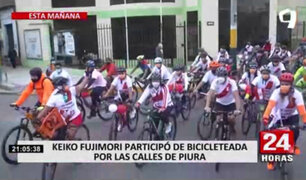 Keiko Fujimori encabezó bicicleteada por las principales calles de Piura