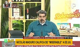 """Maduro calificó de """"miserable"""" a EEUU por excluir a Venezuela en donación de vacunas"""