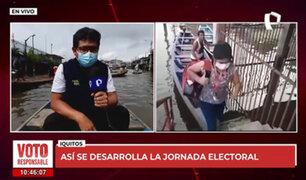 Iquitos: electores acuden a votar en canoas a Belén por la creciente del río Itaya