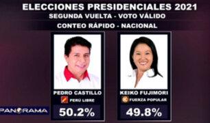Conteo rápido al 100 %: Pedro Castillo 50.2 % y Keiko Fujimori 49.8 %, según Ipsos/AMÉRICA TV