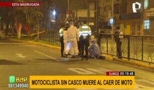 Surco: motociclista sin casco muere tras caer de su vehículo