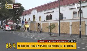 San Isidro: locales de supermercados Wong protegen fachadas con planchas de madera