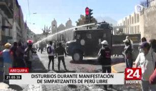 Arequipa: simpatizantes de Perú Libre se enfrentaron a la policía en la plaza España