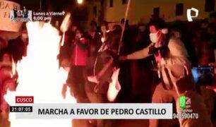 Cusco: simpatizantes de Perú Libre queman caja con logo de Fuerza Popular