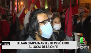 Cercado de Lima: simpatizantes de Perú Libre llegaron hasta el local de la ONPE