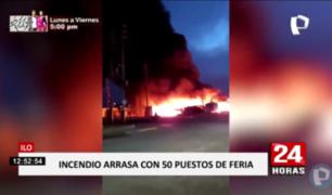 Incendio arrasó más de 50 puestos de feria en Ilo