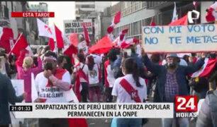 Elecciones 2021: simpatizantes de Fuerza Popular y Perú Libre realizaron plantón cerca de la ONPE