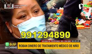La Victoria: delincuentes roban S/.300 mil del tratamiento médico de un niño