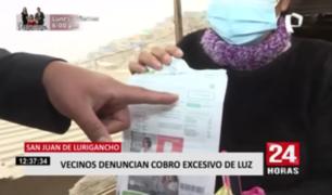 Vecinos de San Juan de Lurigancho denuncian cobros excesivos de luz