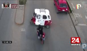 Cajamarca: captan aparatoso choque entre moto y mototaxi