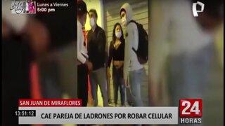 SJM: detienen a pareja de ladrones por robar celular