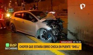 """Miraflores: conductor aparentemente ebrio chocó contra muro de puente """"Shell"""""""